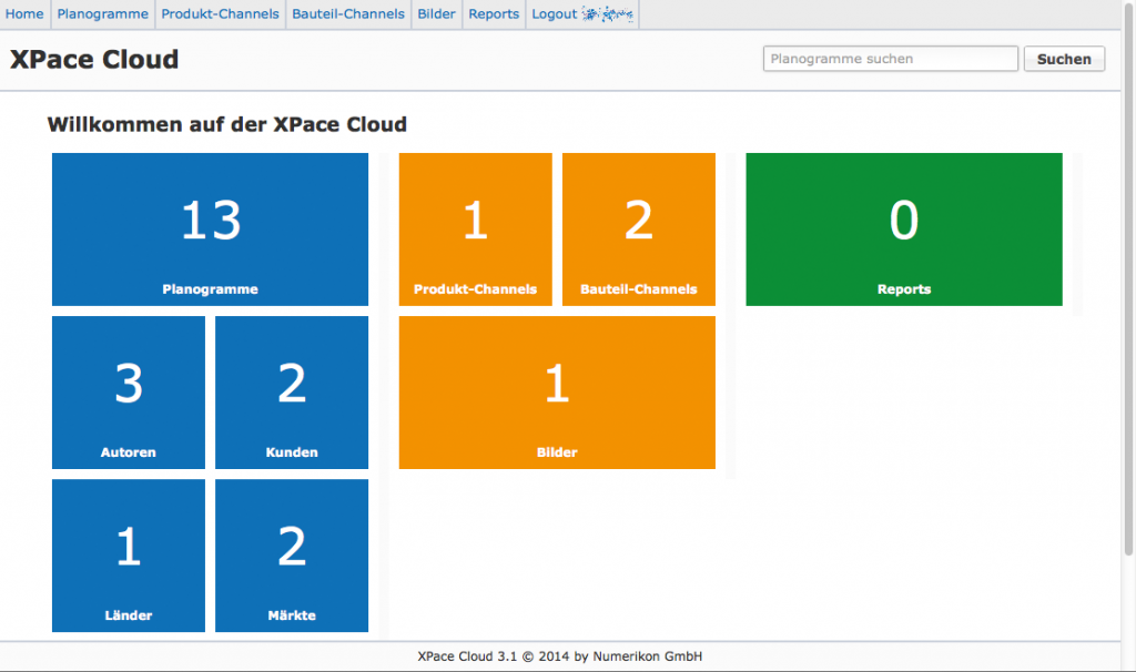 Planogramm Bereitstellung auf XPace Cloud-Web-Homepage